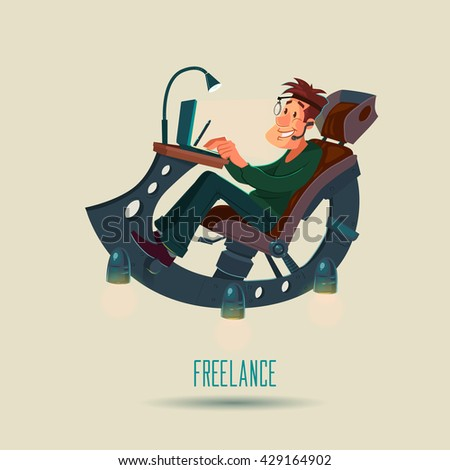 man working at home, freelancer, cartoon character working from home with laptop sitting in fantastic armchair, home office, remote work, web design, vector illustration - stock vector