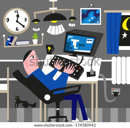 Man working at the computer. Vector illustration. - stock vector