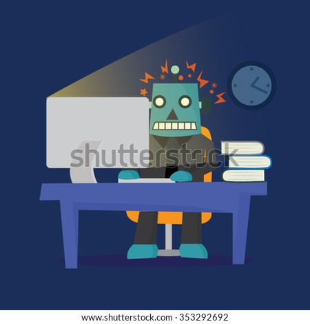 Man working hard and transform into robot, vector illustration - stock vector
