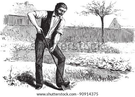 "Man working in garden - Vintage illustration / illustration from book ""La petite soeur par Hector Malot"" 1882, France - stock vector"