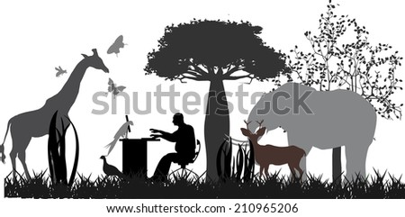 Man working in natural landscape - stock vector