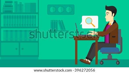 Man working in office. - stock vector