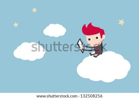 man working on cloud - stock vector