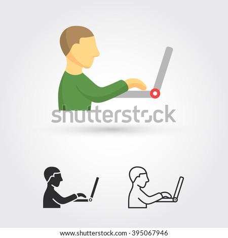 man working on computer - stock vector