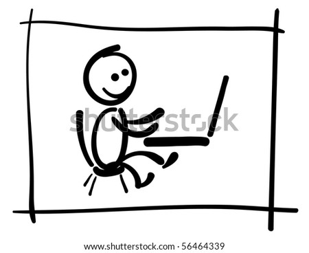man working on computer - stock vector