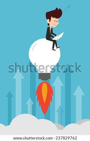 man working on idea - stock vector