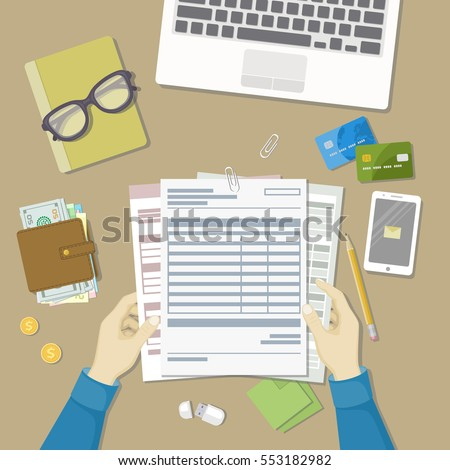 Man Fills Form Document Human Hands Stock Vector 649284616