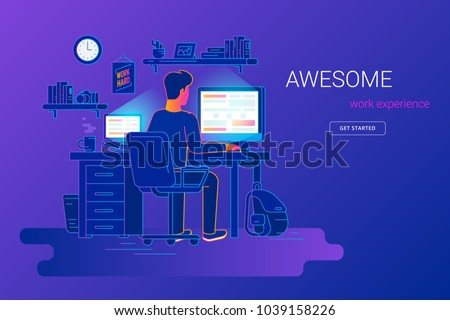 Man working with pc at his work desk and testing ui and ux. Gradient line vector illustration of student studying at home. Young guy working with computer and laptop at home on violet background