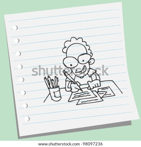 man writing a letter doodle illustration - stock vector