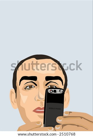 Man writing SMS in a cellphone. - stock vector