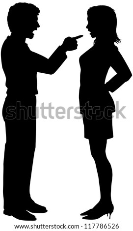 Man yelling pointing at woman in couple fight argument - stock vector