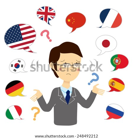 Man you do not know the different languages - stock vector