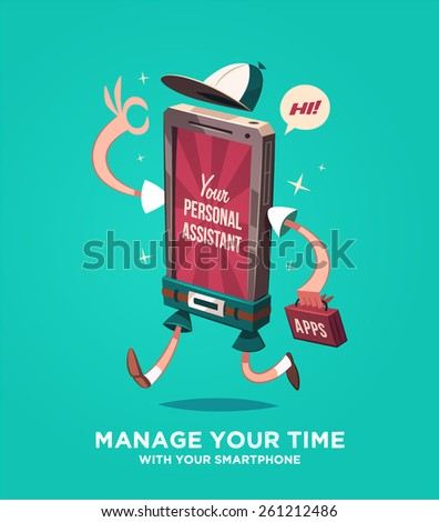 Manage your time with your smartphone. Vector illustration. - stock vector