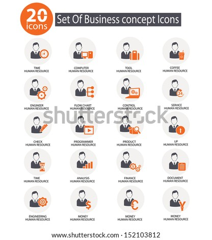Management and Business Icons,Human resource,Orange version on white background,vector - stock vector