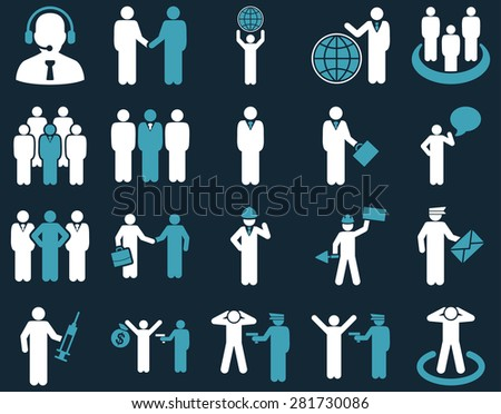 Management and people occupation icon set. These flat bicolor symbols use blue and white colors. Vector images are isolated on a dark blue background. Angles are rounded.