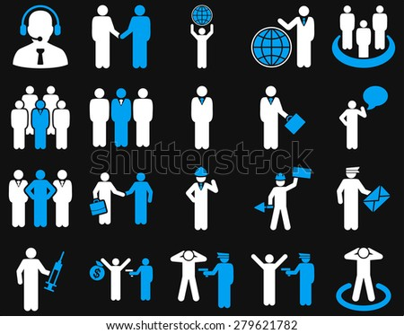 Management and people occupation icon set. These flat bicolor symbols use  light blue and white colors. Vector images are isolated on a black background. Angles are rounded.