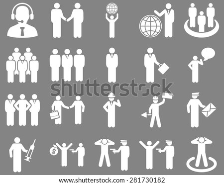 Management and people occupation icon set. These flat symbols use white color. Vector images are isolated on a gray background. Angles are rounded.