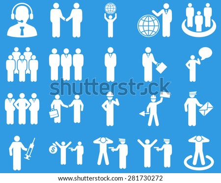 Management and people occupation icon set. These flat symbols use white color. Vector images are isolated on a blue background. Angles are rounded.