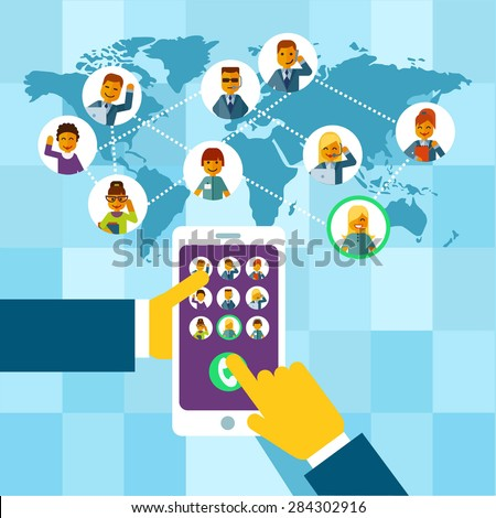 Management concept about remote business and remote control. Presentation or design template in modern flat style - stock vector