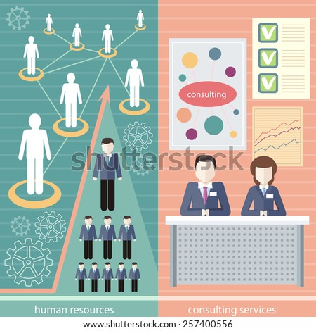 Management consulting services and human resource icons. Linked people. Human resource network template, info graphics in flat design - stock vector