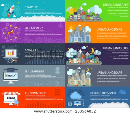 Management digital marketing srart up planning and analytics , e-learning online educations clouds services e-commerce, City landscape at daylight, evening and night. Vector web design and infographic - stock vector