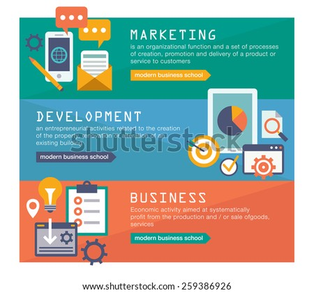 Management digital marketing srartup planning analytics creative team design pay per click seo social media analysis actions and development launch. Banners for websites flar design style - stock vector