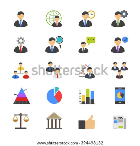 Management Flat Color Icons - stock vector