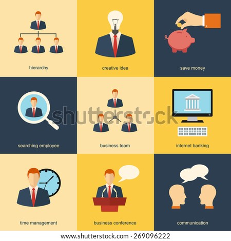 management, human resources communication and business colorful flat design concept icons set. template elements for web and mobile applications - stock vector