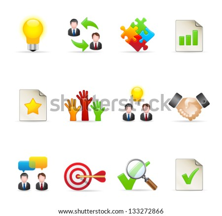 Management icon series  in colors - stock vector