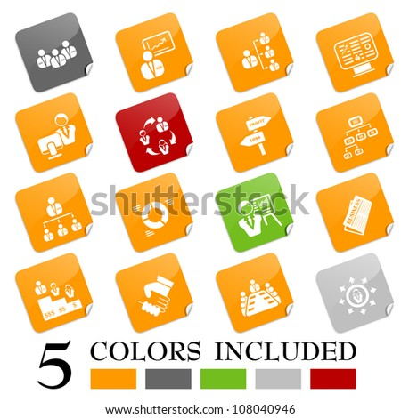 Management icons - sticky series - stock vector