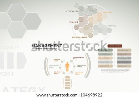 Management infographics - graphs, charts and statistics for presentations, teamwork, reports, etc. - stock vector