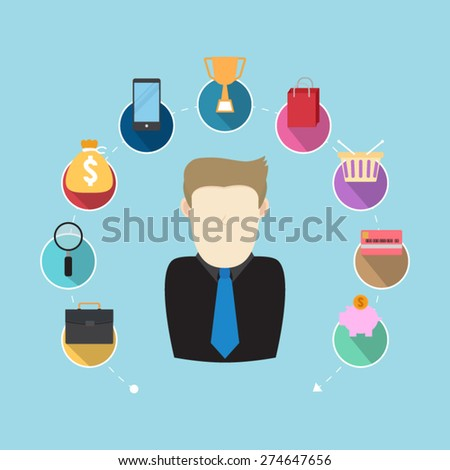 management marketing research strategic planning - stock vector