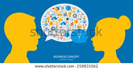 Management Process Concept. Vector Illustration. Man and Woman Heads with Speech Bubbles. Conversation and Solving Problems Concept. Business Idea Development. - stock vector
