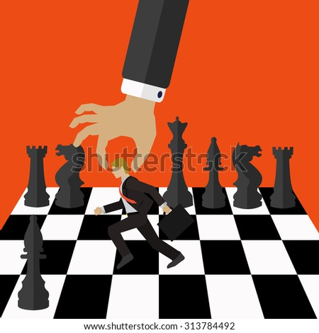 Management vector concept of the boss moving an employee on a chess board with black chess pieces - stock vector