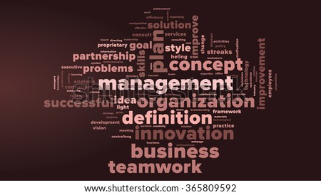MANAGEMENT word cloud. Dark red tag cloud. Vector graphics illustration. - stock vector