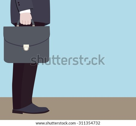 Manager at the beginning of the road to success (vector illustration, flat concept) - stock vector