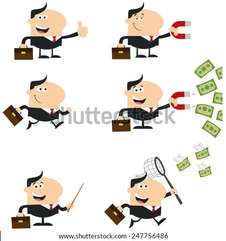 Manager Different Poses. Flat Style Vector Collection Set Isolated On White - stock vector
