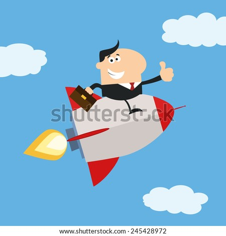 Manager Flying In The Sky And Giving Thumb Up.Flat Style Vector Illustration