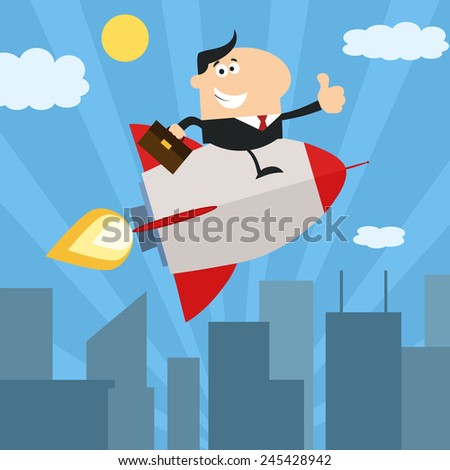 Manager Flying Over City And Giving Thumb Up.Flat Style Vector Illustration - stock vector