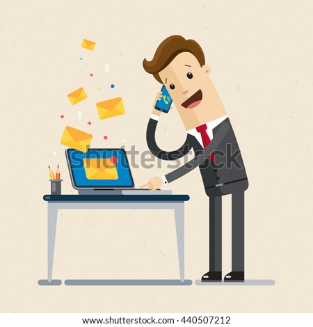 Manager or businessman  receives many emails and calls. Working day, business. Vector, flat, illustration - stock vector