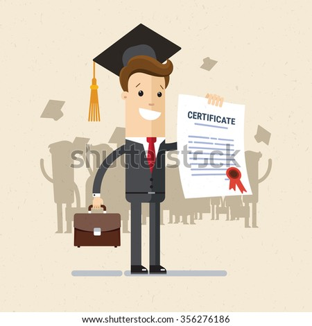 Manager or student. A man in a suit hold a certificate on completion of education. Illustration, vector EPS 10. - stock vector