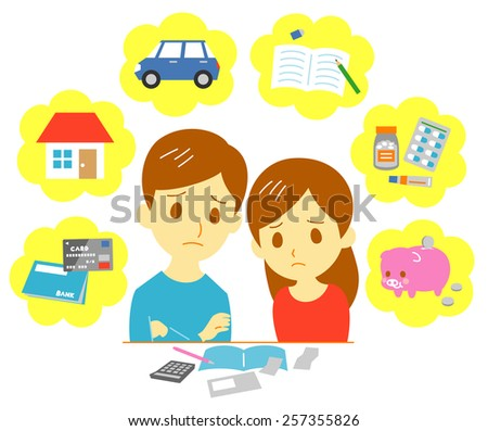 Managing family finances, expenditure, couple - stock vector