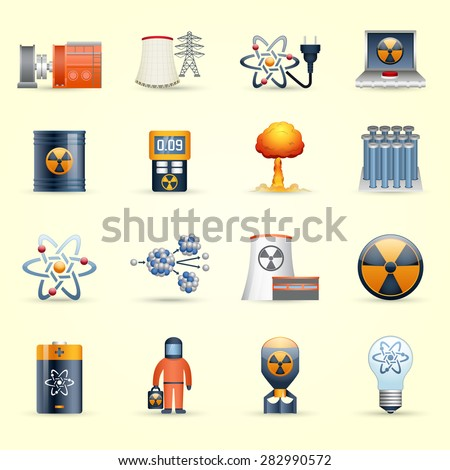 Managing radioactive waste by nuclear power production icons set on yellow back ground abstract isolated vector illustration - stock vector