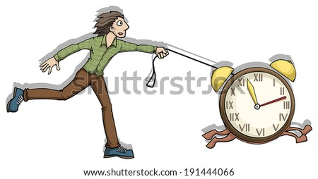 Managing time, concept, man running after a clock, vector illustration - stock vector