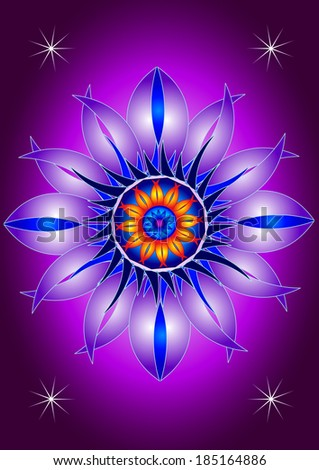 Mandala blooming flower - stock vector