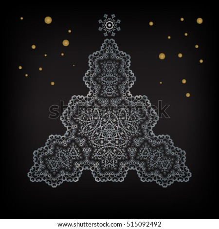 Mandala Christmas tree ethnic vector illustration, holiday concept for invitation card, Happy New Year 2017, Merry Christmas , t-shirt print, posters or textile.
