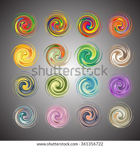 Mandala, circular pattern. A pattern from color spirals for your designs. Spirals and pattern elements of red, blue and green color. Set vector patterns.