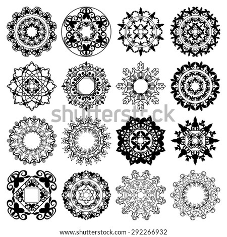 Mandala collection. Round Ornament Pattern. Vintage decorative elements. Islam Arabic Indian motifs - stock vector