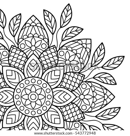 Mandala Coloring Book Pages Indian Antistress Stock Vector