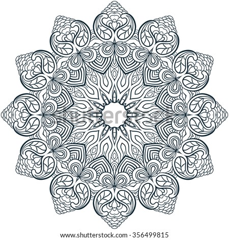 Mandala Coloring Illustration Book For Adult And Older Children Page With
